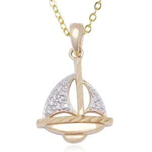 Gold Plated Sterling Silver Diamond Sail Boat Pendant, 18 Jewelry