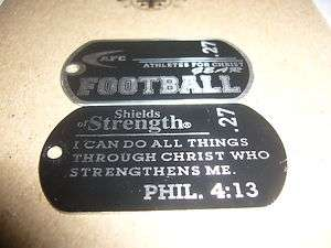 Football Phil 413 Sports dog tag Christian Bible Verse