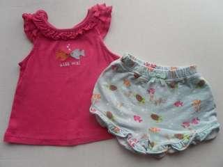 Gymboree Floral Reef Pink 'Kiss Me' Tee Shirt Top Blue Shorts 2t