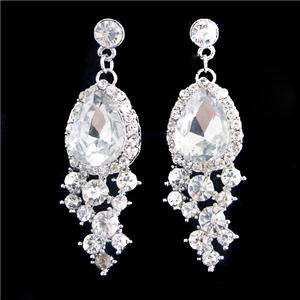 Earring Necklace Set Clear Austrian Rhinestone Crystal Teardrop