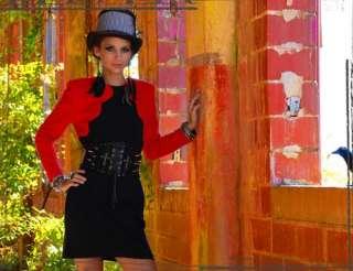 Vtg 80s Color Block Black Scallop Carnival Mini Dress