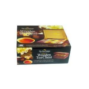 The Tea Nation Wood Tea Box with 72 Foil Wrapped Tea Bags in 6 Flavors