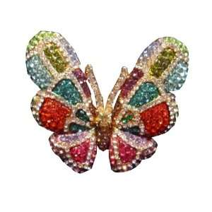 Color Swarovski Crystal Butterfly Fashion Ring   Size 10 Jewelry