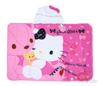 Sanrio Hello Kitty Fleece Hooded Blanket Pink w/ Bear