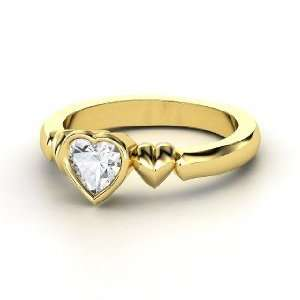 My Heart Beats for You Ring, Heart White Sapphire 14K Yellow Gold Ring