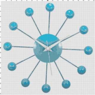 Blue Retro Modern Art Deco Clock Cross Stitch Pattern
