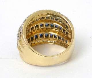 STUNNING 18K GOLD, DIAMONDS & BLUE SAPPHIRES WIDE RING