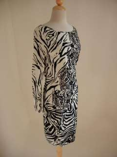 BLUMARINE Black White Animal Zebra Floral DRESS 44