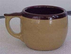 Vintage Tan & Brown Stoneware Coffee Cup USA