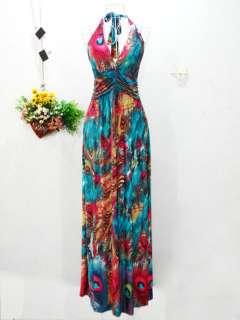 Long Maxi Boho Hippie Halter Dress Size 6 8 10 12 14 16