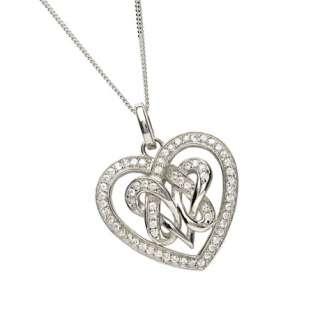 Celtic Knot Heart Pendant Irish CZ Made in Ireland by Boru