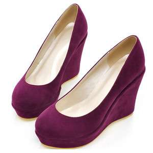 2012 New Wedge Platform Faux Suede Womens Shoes Round Toe High Heels