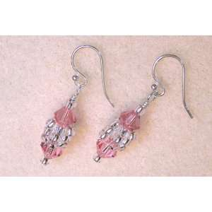 Sterling Silver and Pink Swarovski Crystal Earrings
