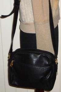 ETIENNE AIGNER Supple Black Leather Cross Body Messenger Bag Handbag