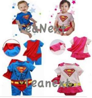 Superman Romper Suit with Cape Fancy Cosplay dress outfit costume Baby