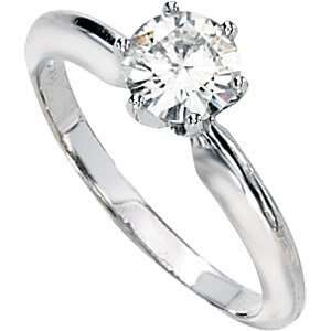 Gorgeous Womens 14k White gold 6MM3/4 CT Round Moissanite Solitaire