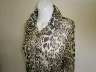 FILO Brown & Black Sheer Chiffon Leopard Print Blouse Large B10716