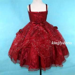 Girl Pageant Wedding Bridesmaid Princess Party Dress Wine SZ 8 9 W619