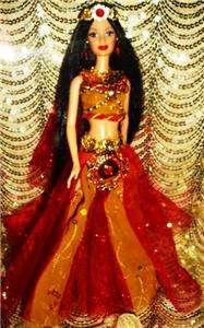 Sultans Desire ~ Belly Dancer ~ barbie doll ooak red & gold black hair