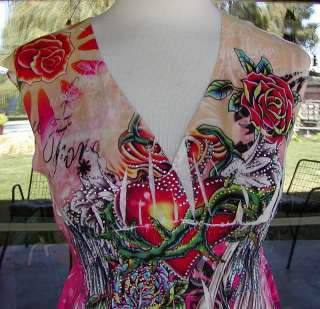 Roses & Hearts Angel Winged Sublimation Shirt Sz. S,M,L