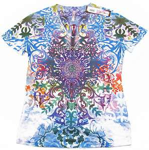 KIARA Blue Filigree Sublimation V neck Tee Shirt Womens S NWT