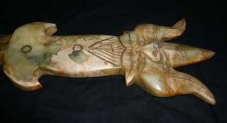 25Old Tibet Tibetan Nephrite Jade Carved Phurpa Dagger