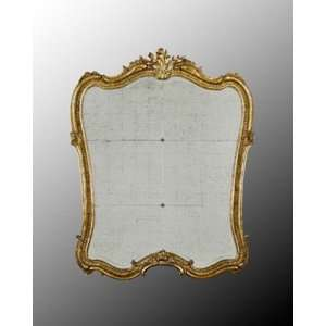 Naples Wood Frame Eglomise Bevel Mirror In Antique Gold Leaf