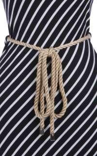 Diagonal Stripes Sleeveless Racerback Full Length Long Maxi Dress Rope