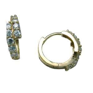 Two Tier Stunner Pave 14K Yellow Gold Huggie Earrings