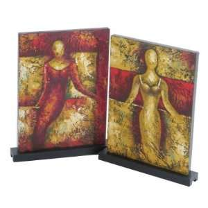 Abstract Hand Painted Lady Canvases on Tabletop Base, Set
