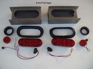 RED LED 6 oval Light Box kit Steel Trailer Truck NO LIC