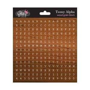 Glitz Design Teeny Alpha Stickers 6X6 Sheet Wood Grain