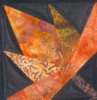 Small Art Quilt AUTUMN LEAVES Wall Hanging or Table Candle Mat Paper