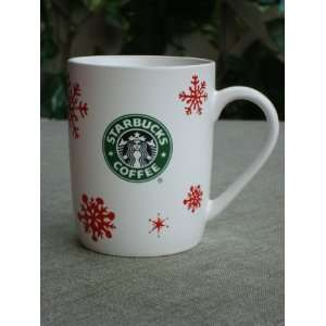 2010 Starbucks Coffee Cup Mug White Red Snowflakes