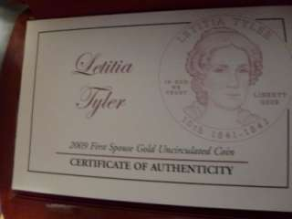 US MINT FIRST 2008 SPOUSE SERIES GOLD PROOF COIN BOX   LETITIA TYLER