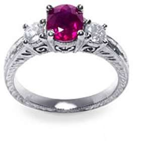 Gold Oval Ruby Diamond Ring (1.50 cts.tw.) Evyatar Rabbani Jewelry