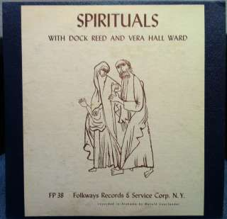 DOCK REED & VERA HALL WARD spirituals LP VG+ FP 38 Vinyl 1953 Record