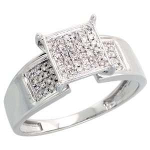 14k White Gold Square shaped Diamond Ring, w/ 0.22 Carat Brilliant Cut