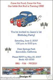Hot Rod Car Birthday Party Invitations Supplies Favors
