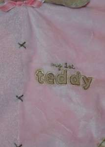 CARTERS Pink My First Teddy Bear Security Blanket Lovey Girls Tan