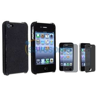 Black Sparkle Glitter Case Cover+Privacy Film Accessory For iPhone 4