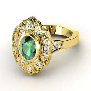 Chamonix Ring, Oval Emerald 14K Yellow Gold Ring with