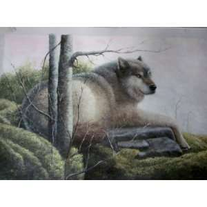Painting  High Quality Wildlife  Wolf Classic 24 X 36   Hand Painted