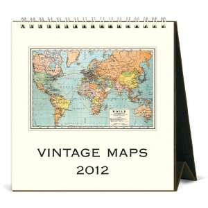 Vintage Maps 2012 Easel Desk Calendar Office Products