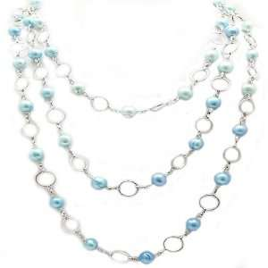 Light Blue Pearl & Chain Link Necklace Jewelry