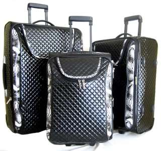 3Pc Luggage Set Travel Bag Rolling Wheel Gray Alligator