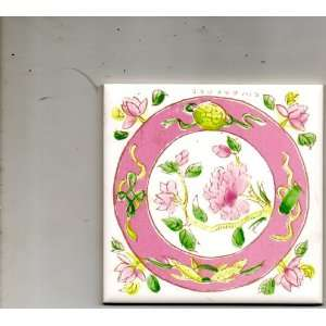 Ceramic or Glass Tile Pink, Green & White Flowers