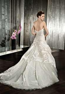 Cheap A line Satin Appliqued Wedding Dress Bridal Gown Size Free