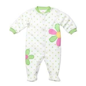 Footed Cotton Easy Entry Sleep & Play Green Polka Dot (6 Months) Baby