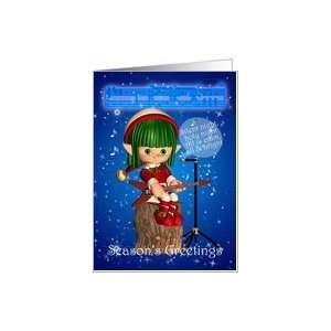 Christmas Elf Singing Silent Night Card